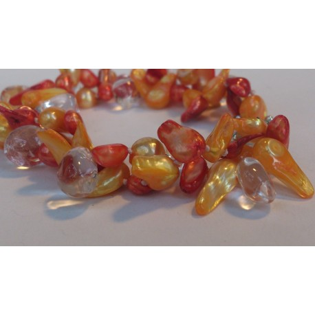 Two strand yellow-orange braclet with crystals
