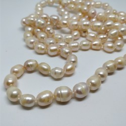 Pink pearls long necklace