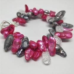 Two strand pink-grey braclet with crystals