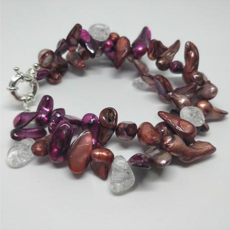 Kaherealine värviline käevõru mäekristallidega