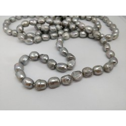 Grey pearls long necklace