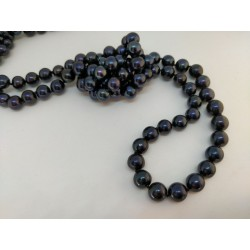 Black pearls long necklace
