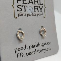Ring silver stud earrings