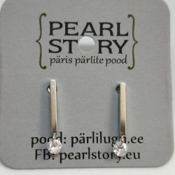 Stick silver stud earrings
