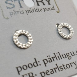 Chain silver stud earrings