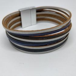 Leather ribbon bracelet,...