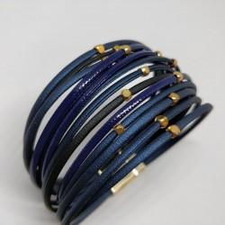 Leather ribbon bracelet blue