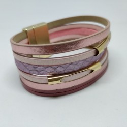 Pearly leather ribbon bracelet