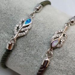 Silver leaf in silky bracelet