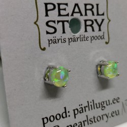 Green opal stud earrings