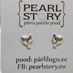Fox silver stud earrings