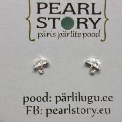 Umbrella silver stud earrings