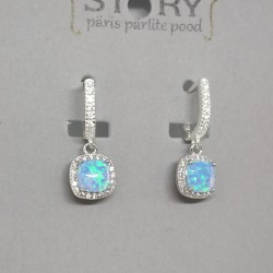 Zircon and opal stud earrings