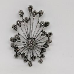 Hematite crystal brooch