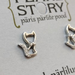 Cat crystal silver stud...