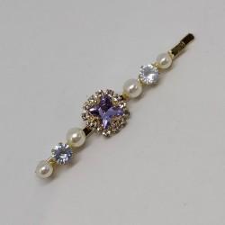 Hair clip purple crystal
