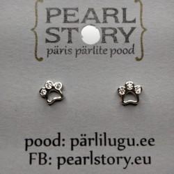 Small paw stud earrings